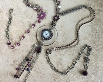 DISCOVERIES Eclectic Working Watch Tassel Pendant Necklace Purple and Silver