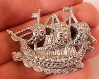 Charles Horner Staybrite Brooch... Viking Galleon... c.1930s