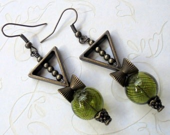 Olive Green and Brass Boho Earrings (3344)