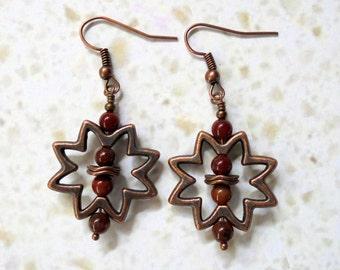 Rust Red Jasper and Copper Sunburst Earrings (3396)