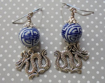 Blue and Silver Chinese Dragon Earrings (3427)