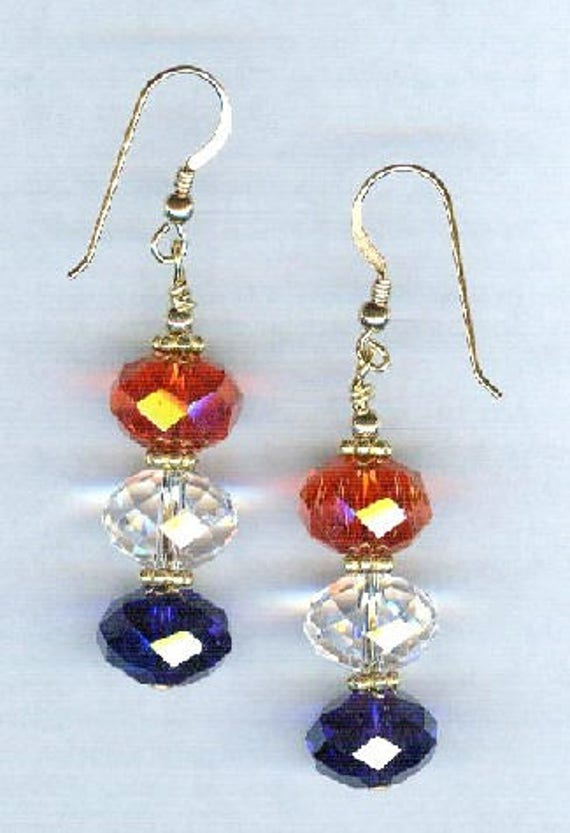 Patriotic Red White & Blue Faceted BOLD Crystal Bead Earrings 1