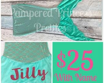 Mermaid Blanket, Monogrammed with Name, Mermaid Tail, Aqua