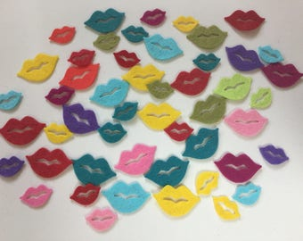 Wool Felt Lips 50 total Die Cuts - Bright colors 4005*stock photo - Crochet Doll Lips - Dolls Lips