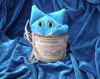 Eye Pillow cat face, lavender scent,  turquoise, aqua. blue cat, Yoga aid, sleep aid, relaxation