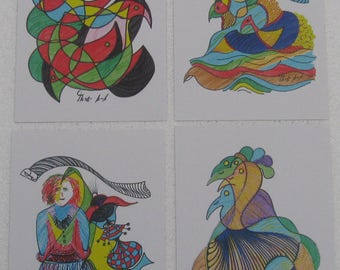 Set of 4 printed drawings in postcard size - birds in free style - pen with colors (set No. 2)