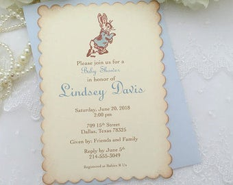 Peter Rabbit Invitations Baby Shower Boy Printed Invitations Set of 10
