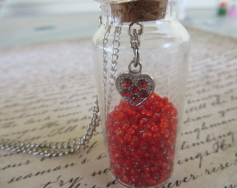 Glas Jar Pendant Necklace With Red Glass Beads And Silver Heart With Red Rhinestones