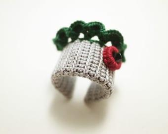 Irish Crochet Lace Jewelry (Lace Fantasia 2-c) Crochet Ring Statement Ring Fiber Ring