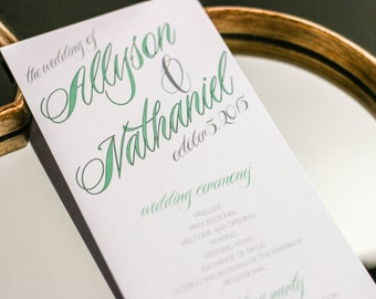 "Modern Wedding Programs, Calligraphy Ceremony Programs, Mint Green Wedding, Wedding Programs - ""Sweeping Script"" Flat Program - DEPOSIT"