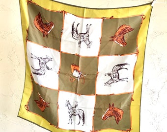 Equestrian Horses Vintage Scarf Bandana Greens Browns All Acetate Headwrap Made in Japan artedellamoda talkingfashion