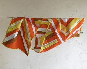 Vintage Twill Scarf Orange Yellow White Stripes Print Retro All Acetate Rain Accessory Water Repellent artedellamoda talkingfashion