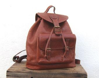 90s Rucksack Backpack Large Rugged Tan Leather Travel Hippy Boho Bag