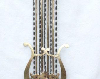 Large Antique French Lyre Clock Pendulum. Brass & Steel Grandfather Clock (4054