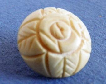 Vintage Carved Bone Flower Button