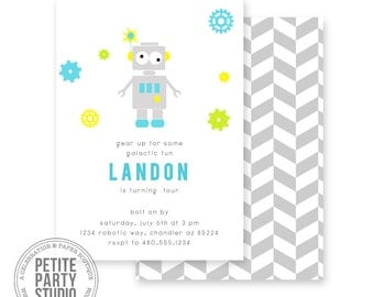 Robot Space Printable Party Invitation - Birthday or Baby Shower - Petite Party Studio