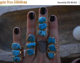 MEMORIAL DAY SALE Turquoise Ring /// Electroformed in 24kt Gold /// The Serpent Ring