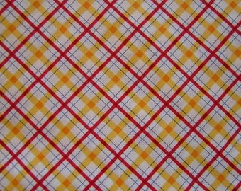 Cotton Fabric Red White Yellow