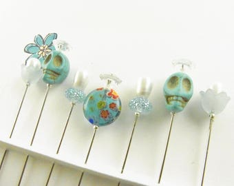 Fancy Sewing Pins Turquoise Skulls and Millefiroi