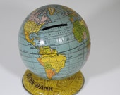 Vintage Globe Small Bank Tin Adorable