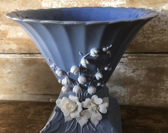 Vintage Blue Vase 1970's Art Deco Lillie of the Valley