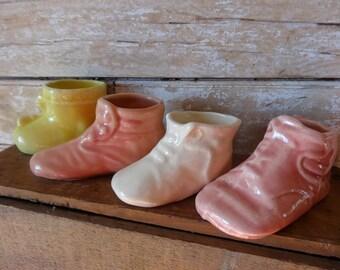 Vintage Baby Bootie Shoe Ceramic Pottery 1950s era Pink Creme Yellow