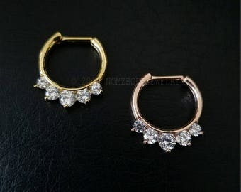 16g (1.2mm) 14g (1.6mm) Gold Or Rose Gold CZ Septum Clicker Ring 316Lvm Stainless Steel Septum Piercing Septum Ring Gold