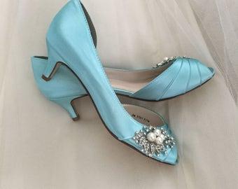 Wedding Shoes - Low Heel Shoe - Kitten Heel - 1 3/4 Inch Wedding Shoes - Pearl And Crystal Wedding Shoes - Blue Wedding shoes - Custom Order
