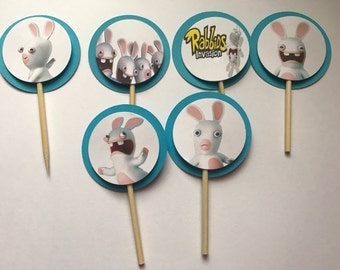 Rabbids Invasion Birthday Party Cupcake Toppers Picks - 24
