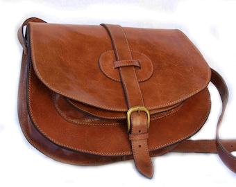 Leather Saddle Bag, Leather Messenger Bag, Leather Crossbody Bag, Leather purse, Leather Satchel, Leather Handbag, 11 laptop Goldmann, Brown