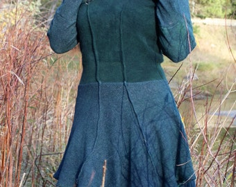 Cashmere/wool/Italian wool/ Hooded dress/Elven/Pixie/Fairy/Winter Fairy/ Mid evil/Renaissance/Forest Nymph/Wool Dress/ Up cycled wool dress