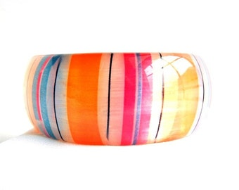 "Vintage Translucent Striped Lucite Bangle Bracelet - Bold Thick Chunky ~ Multi Colored - 2 1/2"" Inside x 1 1/4"" High"