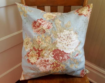 Waverly Ballad Bouquet Fabric Pillow Cover with Insert 18 x 18 inches