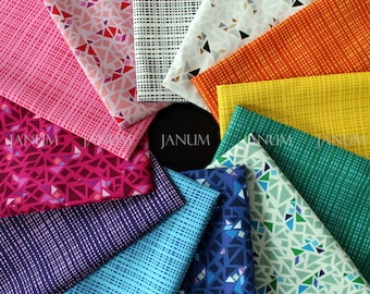 Fat Eighth bundle from the Geogram fabric collection by Samarra Khaja for Lecien