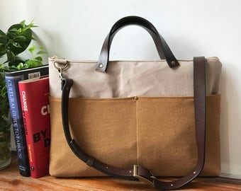 Laptop bag with Genuine Leather handles and  strap