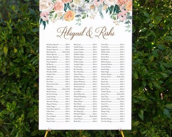Watercolour floral seating chart | Printable wedding signage