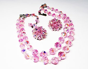 Vintage LAGUNA Necklace & Earrings Set - Multi Strand Choker and Clip on Earrings - Cotten Candy Pink AB Crystal Demi Parure - Signed Laguna