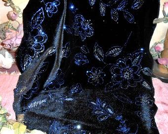 Vintage Fabric Velvet Remnant Blue Glitz Flowers