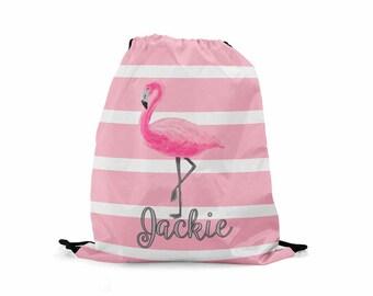 Personalized Kids Drawstring Backpack Kids Cinch Sack Cinch Bag Flamingo Drawstring Back Pack Carry All Shoe Bag Tote Bag Drawstring Tote