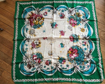 Vintage Scarf Kelly Green,Pink, Aqua and Yellow Floral and Ribbon Detail Tulips, Dogwood and Forget Me Nots Spring has Sprung