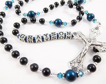 Personalized Rosary in Black and Dark Teal Zircon Blue - Baptism, First Communion, or Confirmation Gift for a Boy