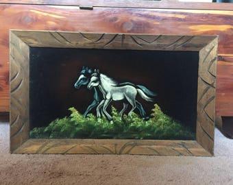 Beautiful horse painting on velvet