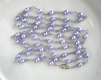 Very Long Lavender Freshwater Pearl Chain Necklace Long Crystal and Lavender Pearl Chain Necklace (51 Inches)