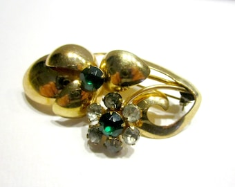 Vintage Gold Filled Pin Green Rhinestone Brooch Vintage Gold Jewelry Restoration Signed Pin Under 20 Brooch