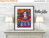 50% Off Today- Mexican Folk art Art Print Poster by Heather Galler Frida Kahlo