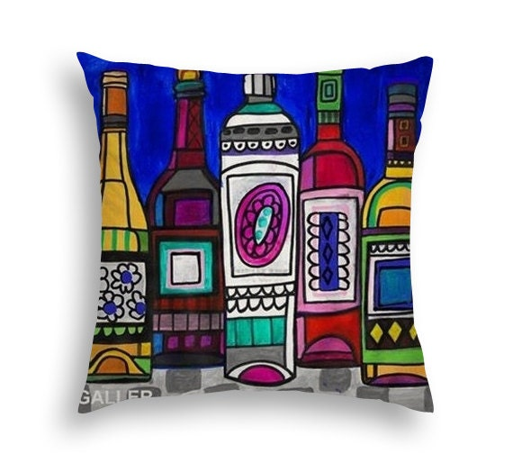 Wine Lovers Art Pillow - Wine Liquor Bottles Gift -  Modern Abstract Art by Heather Galler- 5 Sizes to Choose From