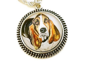 Pet Memorial Necklace- Personalized Dog Necklace- Basset Hound- Dog Lover Gift- Sterling Silver Dog Necklace- Dog Portrait Dog Memorial Gift