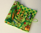 Crayon Caddy Roll Up - Turtle Power (8 Crayons Included) - Ready to Ship!