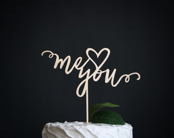me and you wedding cake topper | wedding cake topper | wood cake topper | love cake topper | rustic cake topper | romantic cake topper