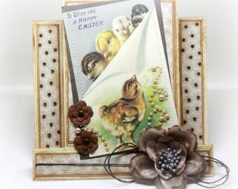 Easter Card - Center Step Baby Chicks Handmade Spring Greeting Card - 3 Dimensional (3D)